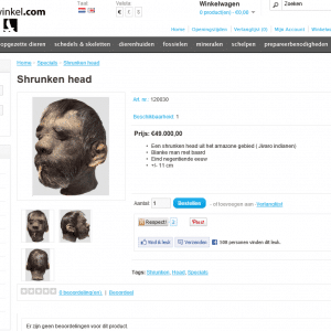 Museumwinkel Shrunken head schernschot