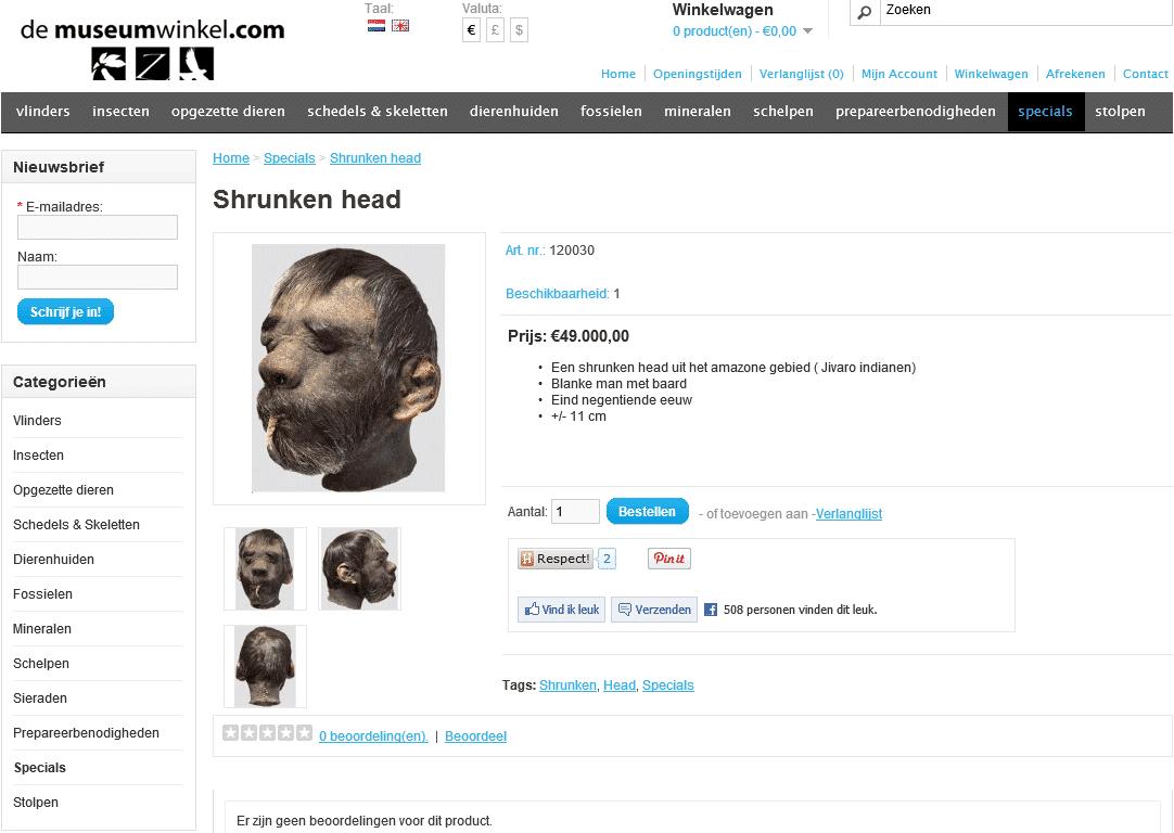 Museumwinkel Shrunken head schernschot